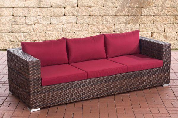 3er Sofa Casablanca rubinrot braun-meliert