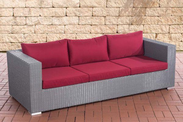 3er Sofa Casablanca rubinrot grau