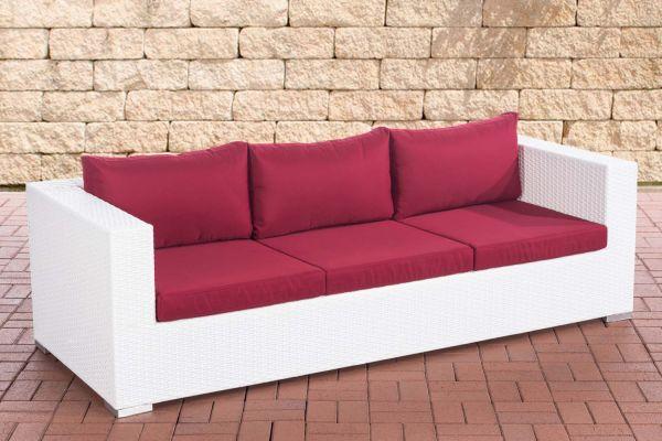 3er Sofa Casablanca rubinrot weiß