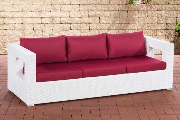 3er Sofa Honolulu rubinrot weiß