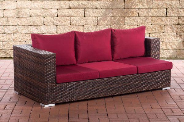 3er Sofa Provence rubinrot braun-meliert