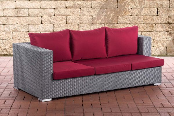 3er Sofa Provence rubinrot grau