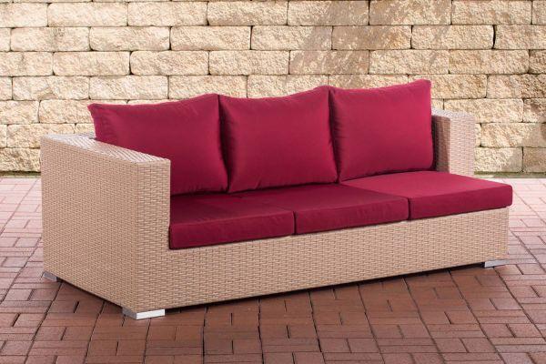 3er Sofa Provence rubinrot sand