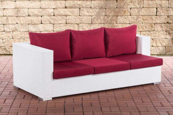 3er Sofa Provence rubinrot weiß