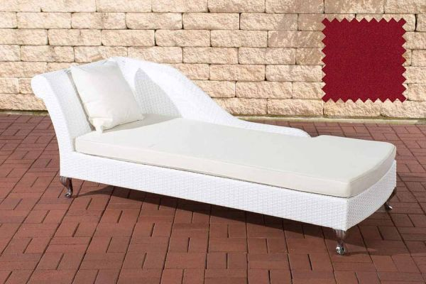 Chaiselongue Savannah rubinrot weiß