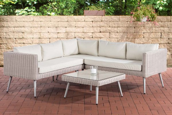 Hoeklounge Molde - 5mm rond Polyrattan Parelwit