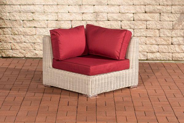 Eckelement Ariano 84x84cm Rubinrot perlweiß