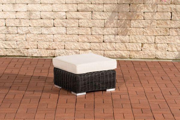 Fußhocker Ariano 56x56 cm Cremeweiss  schwarz