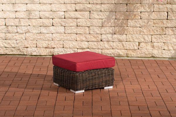 Fußhocker Ariano 56x56cm Rubinrot braun-meliert
