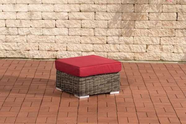 Fußhocker Ariano 56x56cm Rubinrot grau-meliert