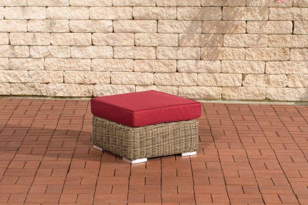 Fußhocker Ariano 56x56cm Rubinrot natura
