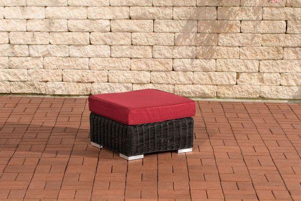 Fußhocker Ariano 56x56cm Rubinrot schwarz