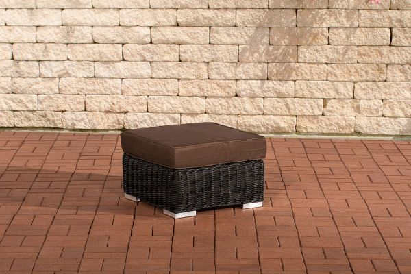 Fußhocker Ariano 56x56cm Terrabraun schwarz