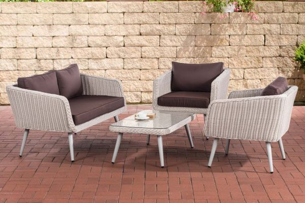 Loungeset  Trosa - 5 mm rond Polyrattan Parel wit