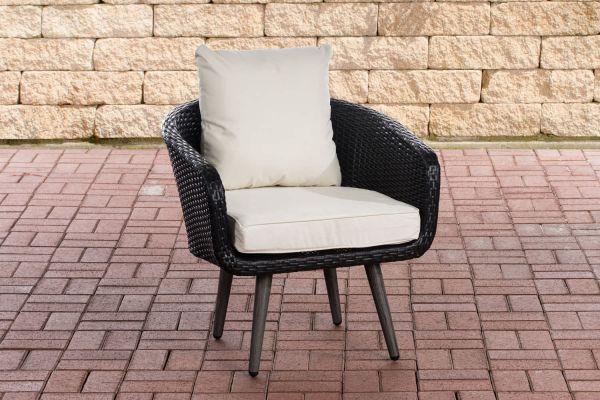 Sessel Ameland Flach cremeweiß 45 cm (Dunkelgrau) schwarz