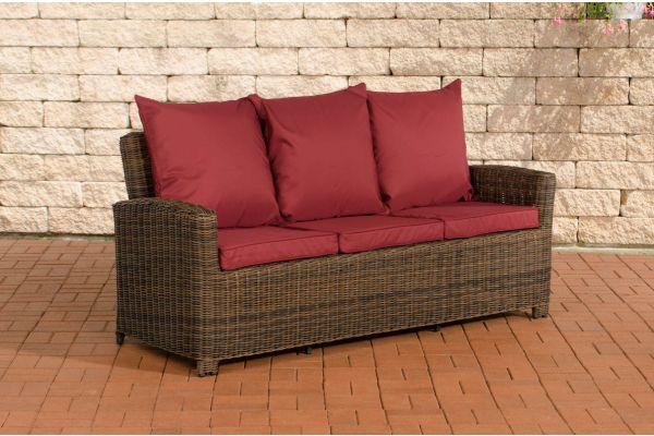 Sofa 3er Fisolo Rubinrot 5mm braun-meliert