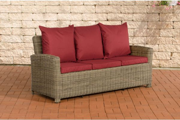 Sofa 3er Fisolo Rubinrot 5mm natura
