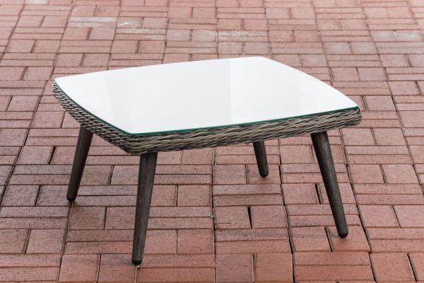 Tisch Ameland Rundrattan 35 cm grau-meliert